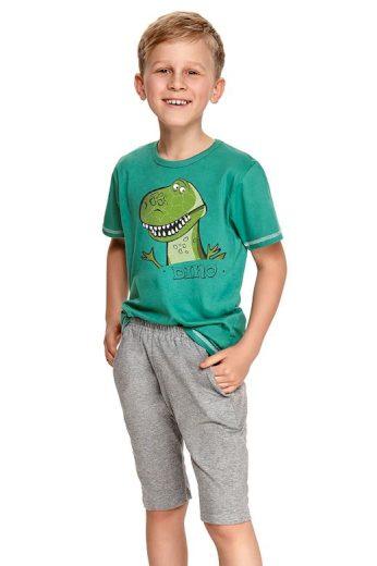 Chlapecké pyžamo Alan tmavě zelené s dinosaurem
