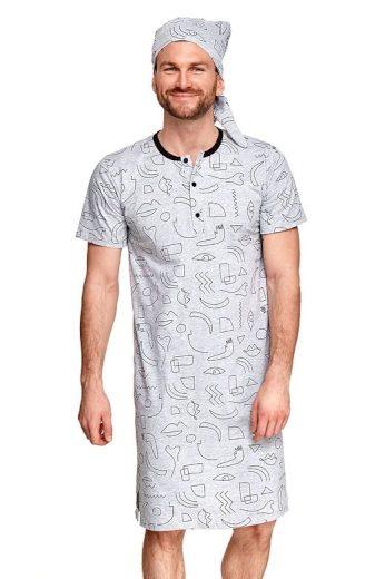 Pánská noční košile Filip šedá symboly