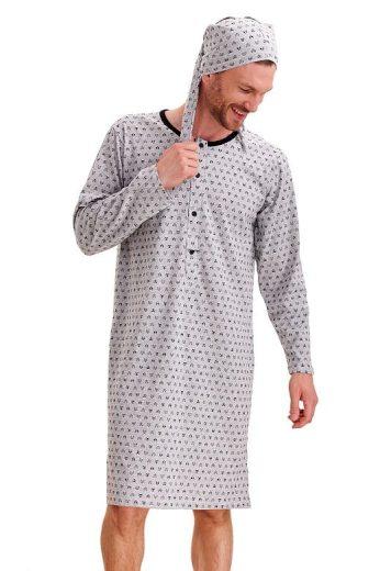 Pánská noční košile Filip šedá lišáci