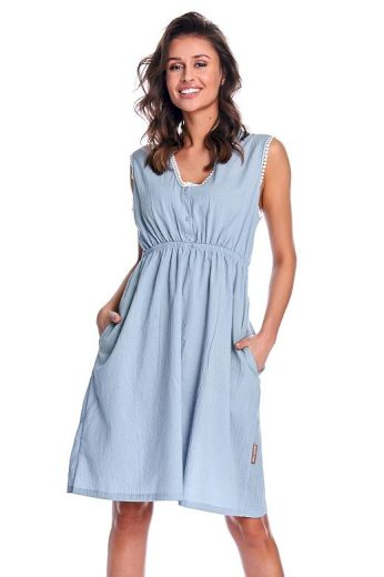 Mateřská košile Gabriela modrá bavlna organic