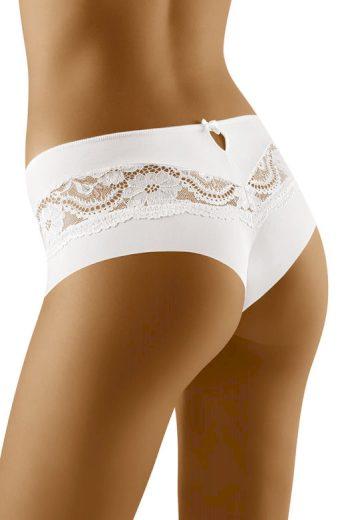 Kalhotky brazilského střihu s krajkou Nina bílé