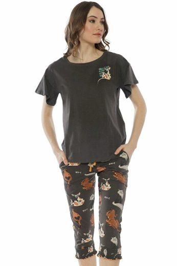 Dámské pyžamo Kiara hnědé s kočkami
