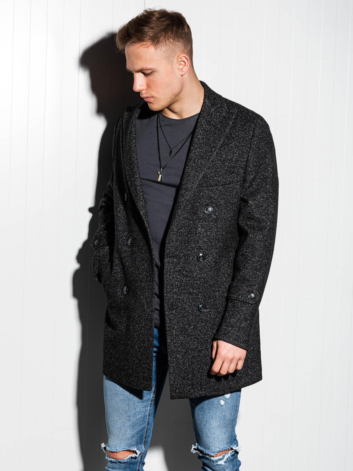 Pánský kabát oversize C429 - černý