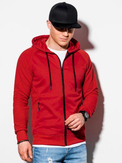 Pánská mikina na zip s kapucí B1083 - červená