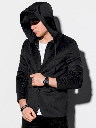 Pánské casual sako s kapucí M156 - černá