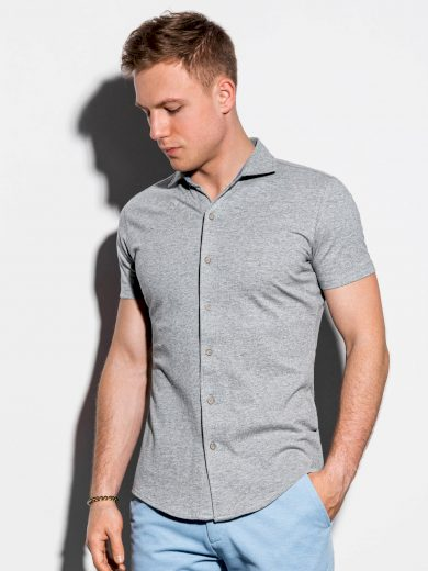 Pánská košile s krátkým rukávem K541 - šedá