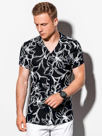Pánská košile s krátkým rukávem K551 - černá