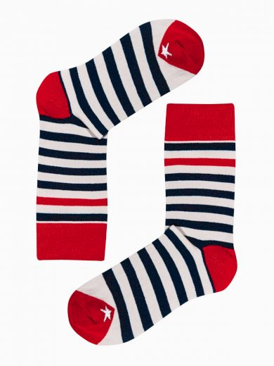 Pánské ponožky U151 - bílá/námořnická modrá