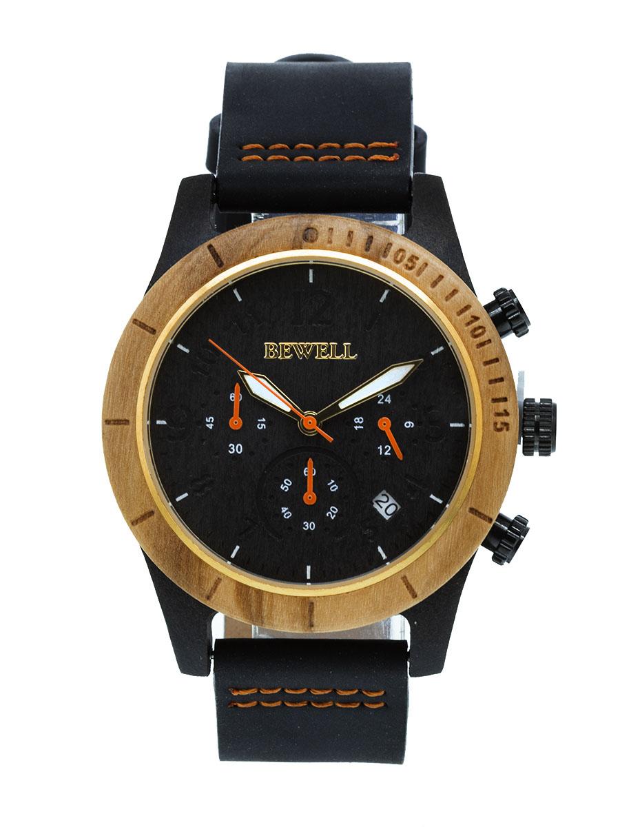 Dřevěné hodinky Lath hnědé