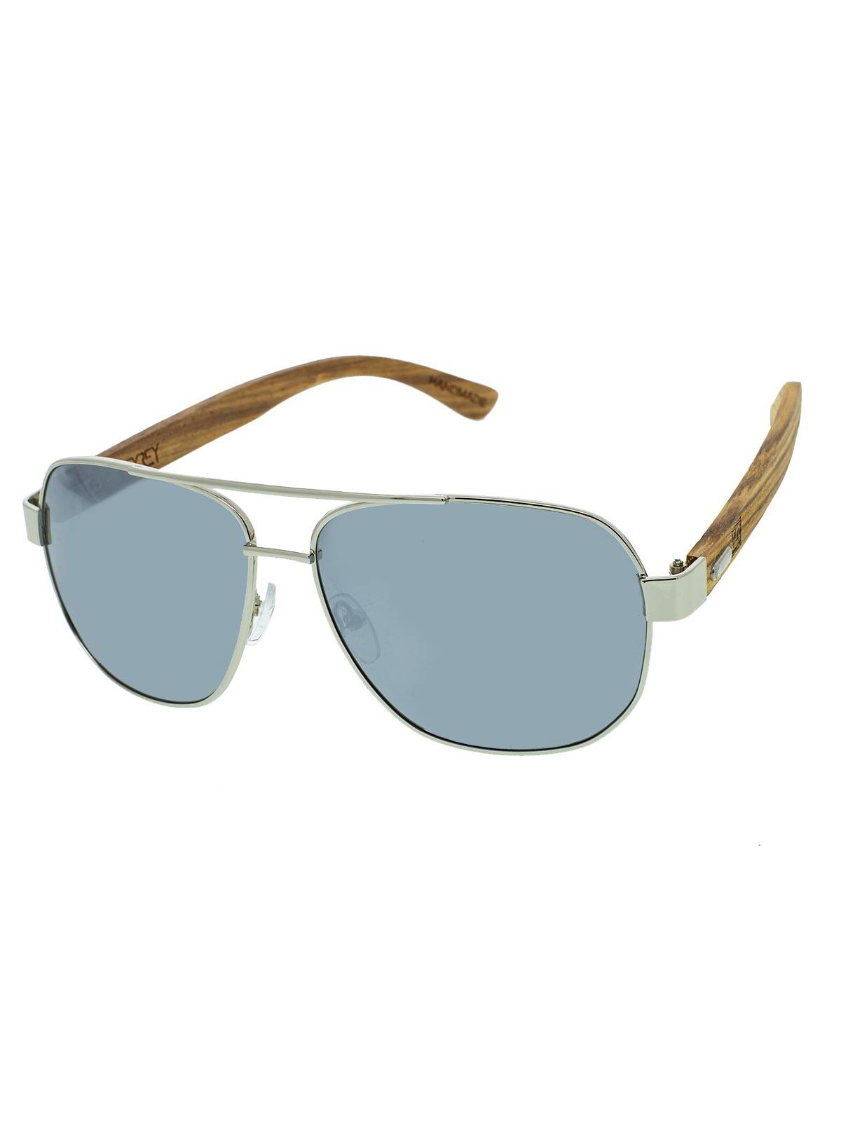 Dřevěné sluneční brýle Pent stříbrná skla