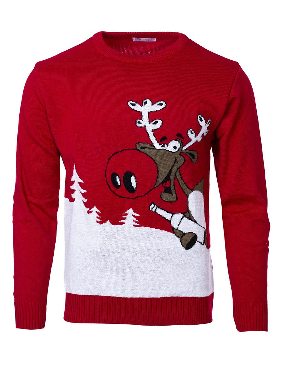Pánský vánoční svetr se sobem Drunk Reindeer červený