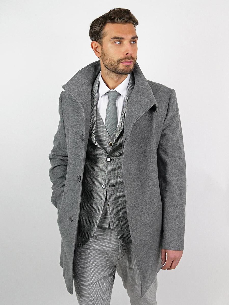 Pánský vlněný kabát Ranier šedý