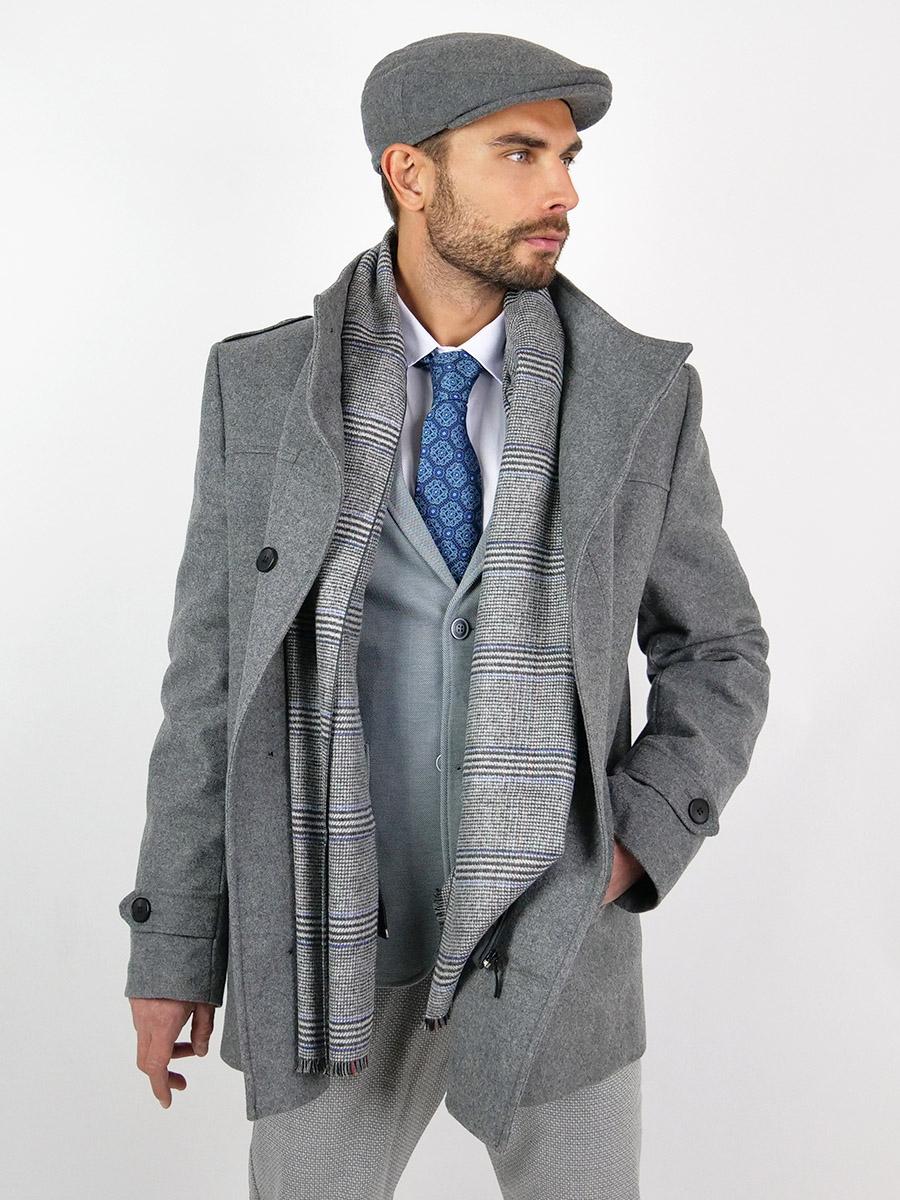 Pánský společenský vlněný kabát Percy šedý