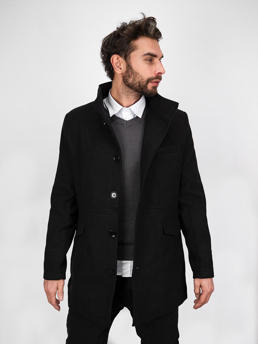 Pánský elegantní zimní černý kabát se stojáčkem Victor