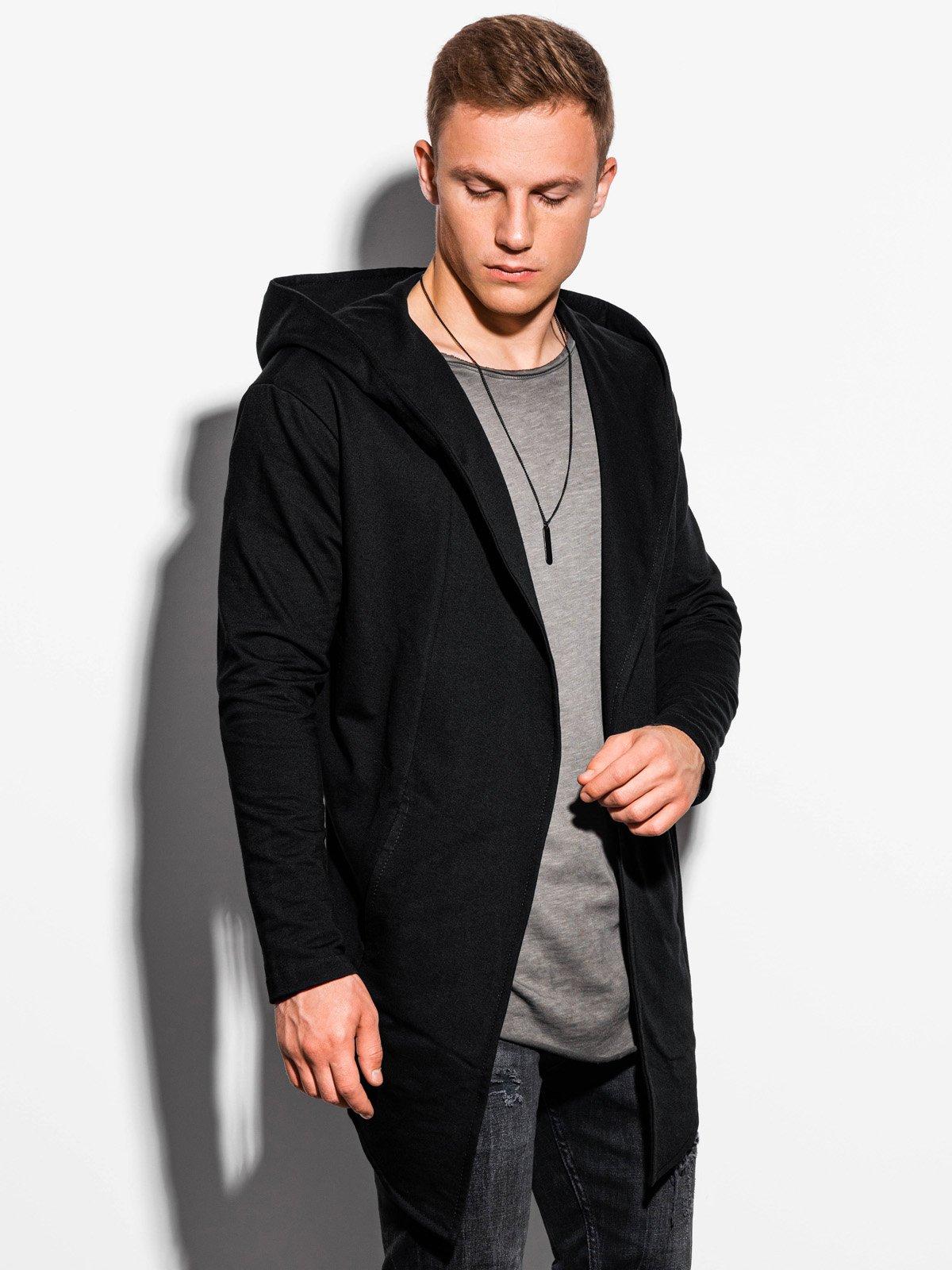 Pánský cardigan s velkou kapucí Corbin černý