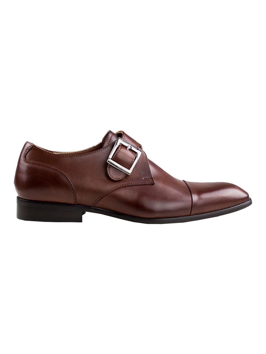 Pánské kožené monk shoes se sponou Theloni tmavě hnědé