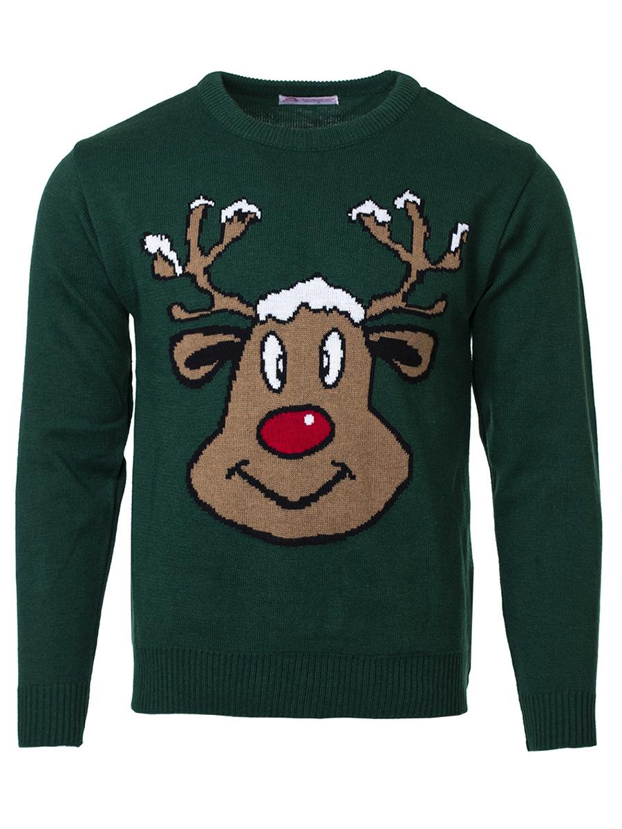 Pánský svetr se sobem Reindeer tmavě zelený