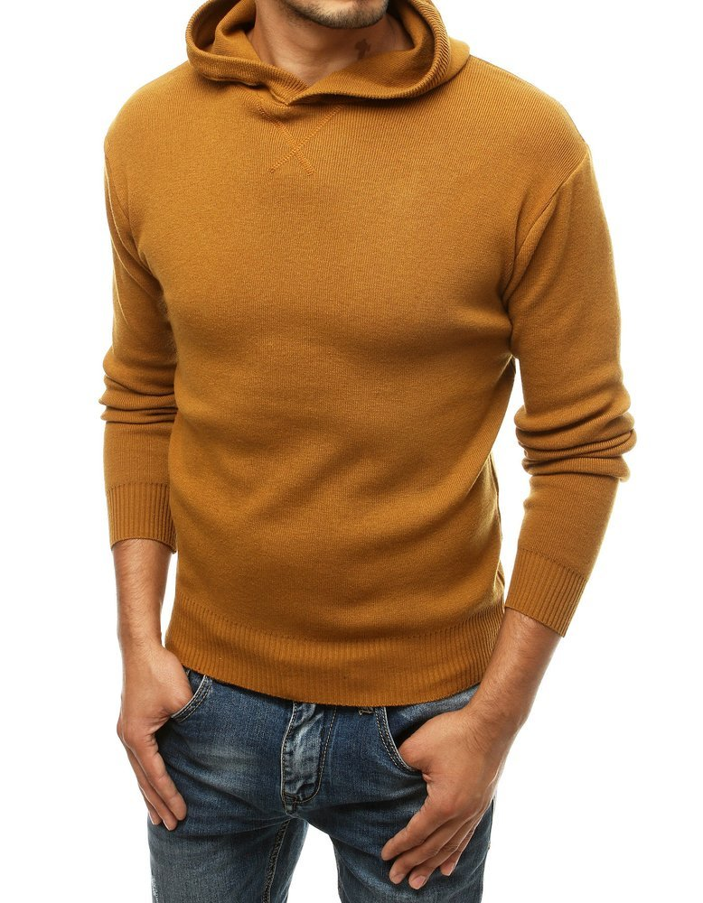 Pánský svetr s kapucí Reine camel WX1468
