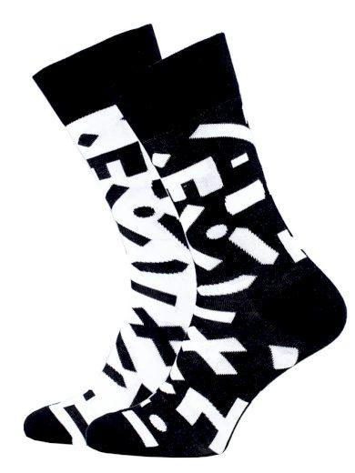 Veselé vzorované ponožky Random černo-bílé