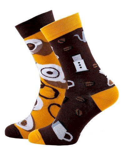 Veselé vzorované ponožky Coffee Lover černo-žluté
