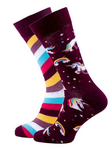 Veselé vzorované ponožky The Unicorn bordó