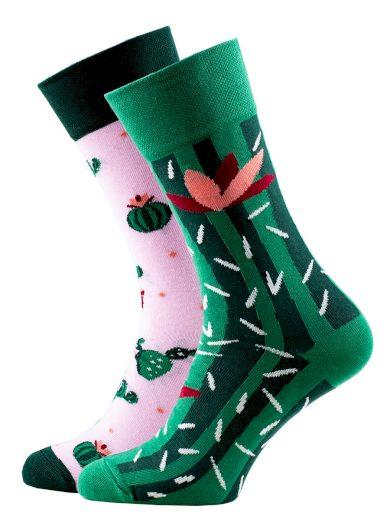 Veselé vzorované ponožky Summer Cactus zelené