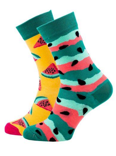 Veselé vzorované ponožky Watermelon Splash zelené