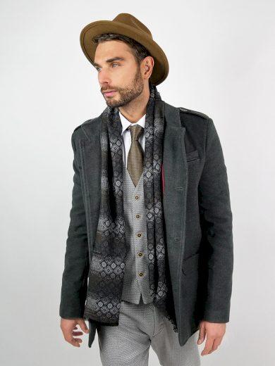 Elegantní pánský šedý kabát Augustino s vysokým límcem