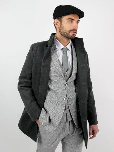 Pánský elegantní zimní šedý kabát se stojáčkem Victor