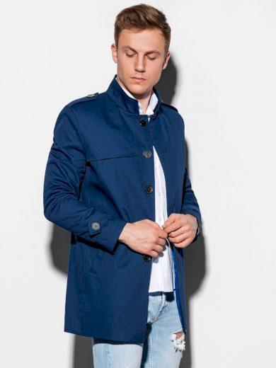 Pánský podzimní kabát k obleku Eliot tmavě modrý