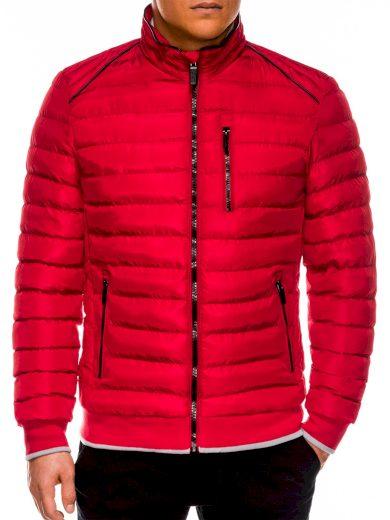 Pánská zimní bunda bez kapuce Beck červená