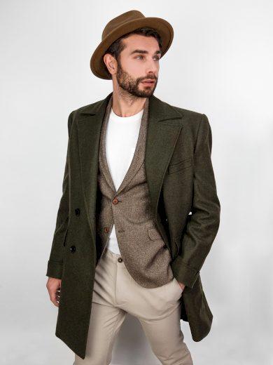 Pánský kabát Jacobe tmavě zelená