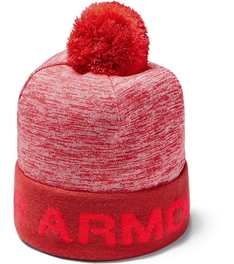 Under Armour Boys Gametime Pom Beanie Chlapecký kulich 1345388-646 Martian Red OSFA