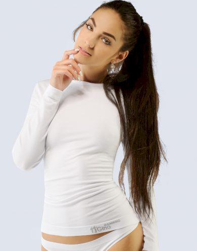 GINA Triko dlouhý rukáv - bezešvé 58001-MxB bílá S/M