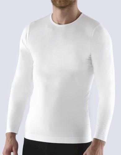 GINA Pánské tričko s dlouhým rukávem 58010-MxB bílá L/XL