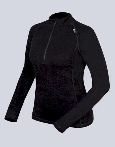 GINA Dámské triko se zipem s dlouhým rukávem 88015-MxC černá S