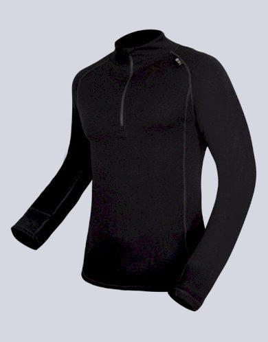 GINA Pánské triko se zipem s dlouhým rukávem 88016-MxC černá M