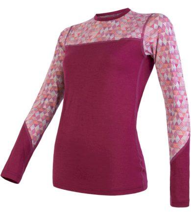 MERINO IMPRESS Dámské termo triko dlouhý rukáv 19200024 lilla/pattern L