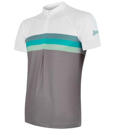 CYKLO SUMMER STRIPE Pánský cyklistický dres 20100052 šedá/zelená S