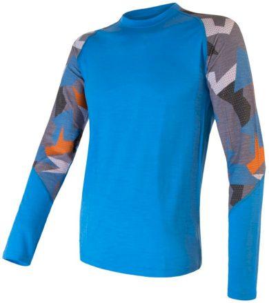 MERINO IMPRESS Pánské termo triko dlouhý rukáv 20200007 modrá/camo M