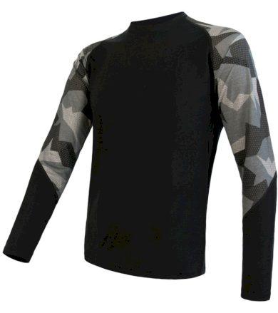 MERINO IMPRESS Pánské termo triko dlouhý rukáv 19200020 černá/camo L
