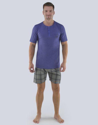 GINA Pánské pyžamo krátké 79074-MGMMxC šedomodrá-černá S