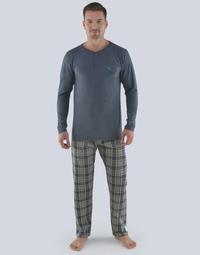 GINA Pánské pyžamo dlouhé 79071-DxGMxC tm. šedá-černá S