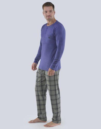GINA Pánské pyžamo dlouhé 79071-MGMMxC šedomodrá-černá S