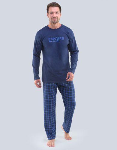 GINA Pánské pyžamo dlouhé 79095-DCMMxM Lékořice-modrá S