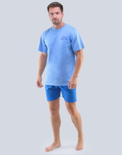 GINA Pánské pyžamo krátké 79094-MBMDBM sv. modrá-atlantic S