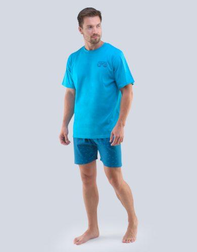 GINA Pánské pyžamo krátké 79094-DYMDZM tm. tyrkysová-petrolejová S