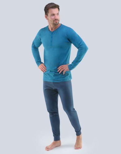 GINA Pánské pyžamo dlouhé 79087-DZMDxG petrolejová-tm.šedá S