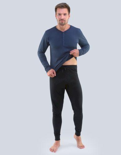 GINA Pánské pyžamo dlouhé 79087-DCMMxC lékořice - černá S