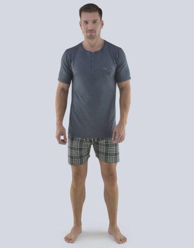 GINA Pánské pyžamo krátké 79074-DxGMxC tm. šedá-černá S